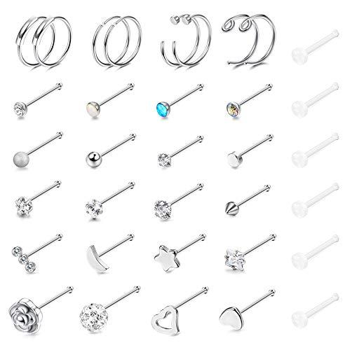 Yadoca 34 Pcs Stainless Steel Nose Stud Rings