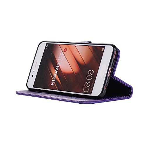 Wkae Detachable 2 in 1 Crazy Horse Texture PU Leather Case, Fairy Girl Embossed Pattern Flip Stand Case Pouch Cover with Lanyard & Card Cash Slots for Huawei P10 Plus (Color : Black) Purple