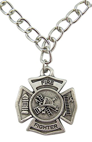 - Spiritual Expressions Jewelry Silver Toned Round Firefighter Medal with Cross Charm Bracelet, 1 Inch