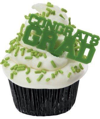 Congrats Grad Green Graduation Party Cupcake Picks - 24 pc