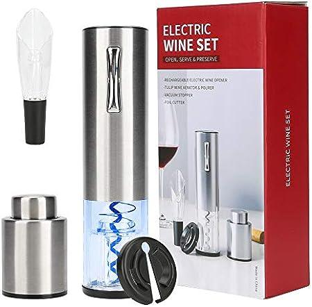 Brynnl - Sacacorchos eléctrico de acero inoxidable, abridor automático de botellas de vino con cortador de láminas, vertedor de aireador de vino