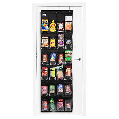 Regal Bazaar Over-the-Door Hanging Black Pantry Organizer and Kitchen Storage Unit with 24 Crystal-Clear Vinyl Pockets and 3 Metal Hooks