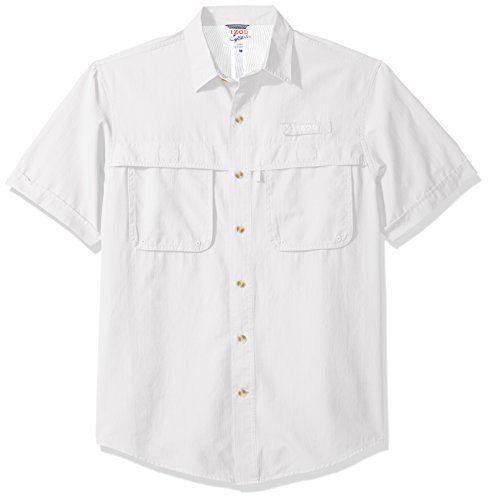 - IZOD Men's Saltwater Easy Care Fishing Short Sleeve Shirt, Daisy White, Large