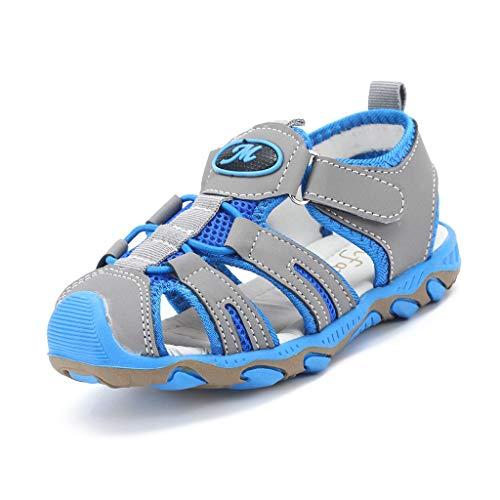 Mysky Children Kids Summer Popular Hollow Out Closed Toe Comfy Flat Casual Outdoor Beach Sandals Blue ()