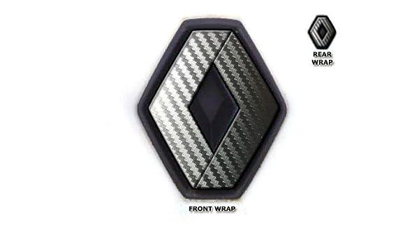 JCM/ plata carbono /Envoltorios de insignias delanteras y traseras para Renault Twingo II 2007/ /2011