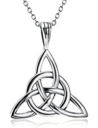 """925 Sterling Silver Good Luck Irish Celtic Knot Triangle Vintage Pendant Necklaces, Rolo Chain 18"""""""