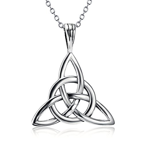 925 Sterling Silver Good Luck Irish Celtic Knot Triangle Vintage Pendant Necklaces, Rolo Chain 18