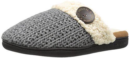 Dearfoams Women's Sweater Knit Closed Toe Scuff Slipper, Dark Heather Grey, Large/9-10 M US