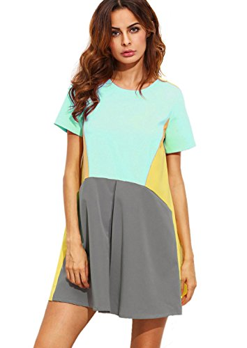 Shein Womens Cute Short Sleeve Pockets Color Block Casual Swing Tunic Dress Medium Mint Green
