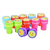 Emorefun 12 pcs Cute Multicolor Assorted Plastic Cartoon Emoji Expression Stamps Set Self Inking Stamps Toy Gifts For Kids Toddler Best Self Inking Plastic Christmas Themed Stamps