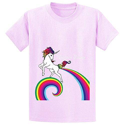 Mcol Unicorn Power With Rainbow Child Crew Neck Graphic T Shirt Pink