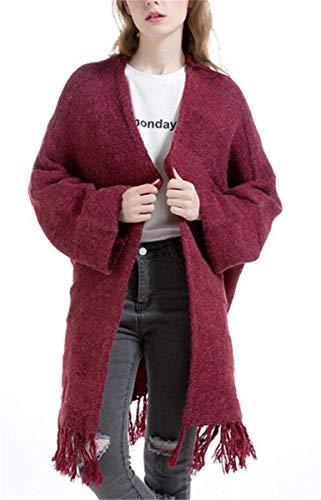 Elegante Rot Maglioni Pullover Invernali Baggy Tassels Lunga Maglia Women Donna Moda Manica Casual A Spacco Lunghi Autunno Cardigan Monocromo Giovane Cappotto RXtwqA