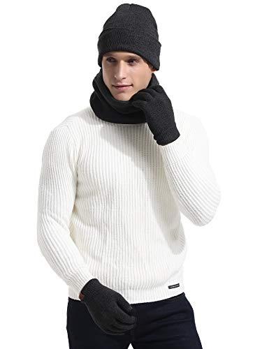 polar invierno Mujer oscuro Aibrou Guante Unisex con Bufanda caliente Sombrero Forro incluye Gargantilla 2pcs forro Beanie Gris Hombre de Hat de punto 7Hnqv0w