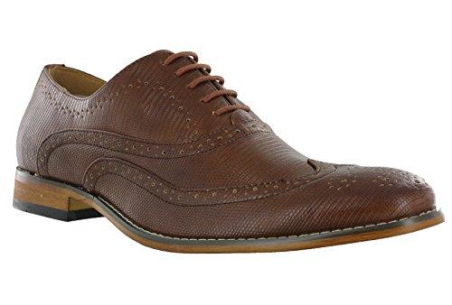 Goor mens Brogue formali Oxford pizzo sera matrimonio Smart scarpe casual, Marrone