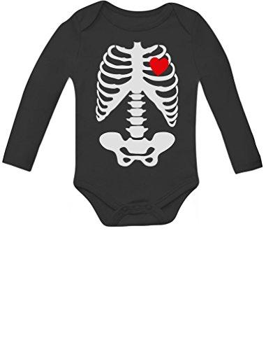 Tstars Halloween Heart Skeleton Baby Long Sleeve Bodysuit 18M Black