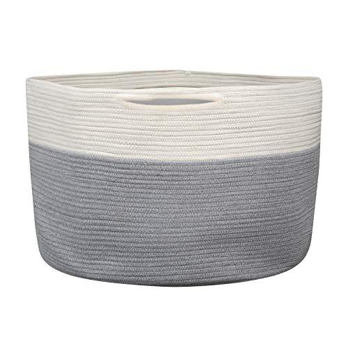 Houseables Jumbo Storage Basket, XX-Large, Oversized Cotton Rope Laundry Hamper, 23