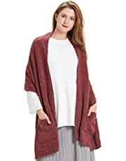 Hanerdun Womens Thick Knitted Shawls And Wraps Winter Soft Warm Scarf With Pockets