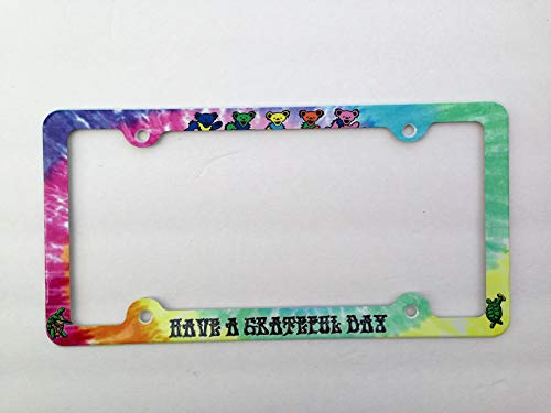 ATD Have a Grateful Day License Plate Frame, Grateful Dead Dancing Bears and Terrapin Decorative License Plate Holder
