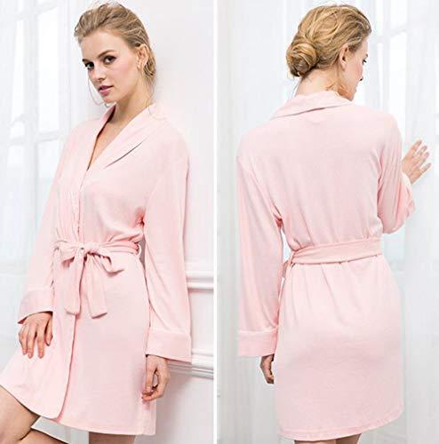 Manga Algodón Tamaño Mujer color Para Pijamas Punto Metro Albornoces Pink Larga Oscuro Azul De fZSnYwaq