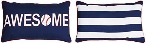 Thro by Marlo Lorenz TH015364001E Austin Awesome Baseball Kids Pillow, Navy Red Bright White