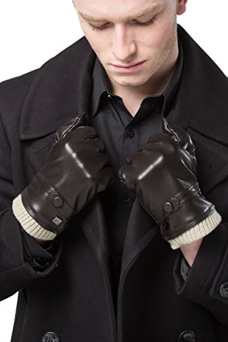 Gallery Seven Mens Faux Leather Warm Winter Gloves - Touch Screen Texting Glove - Gift Wrapped - Deep chocolate Fine Button Style - Medium