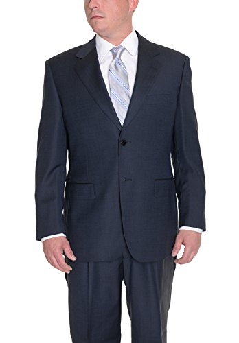 navy-blue-textured-two-button-wool-suit-with-pleated-pants