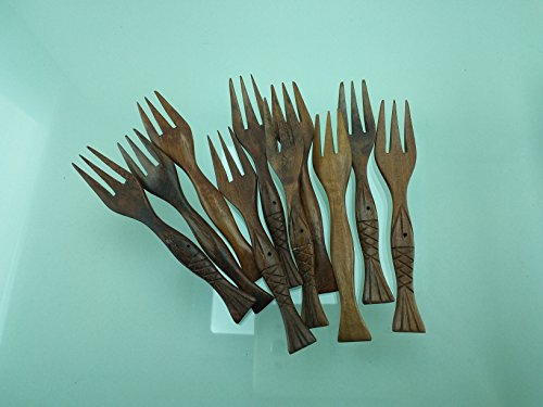 Lot of 10 Pcs. X 4'' Wooden Small Forks Dessert Fork Fruit Handmade Red wood by amazingonline (Image #1)