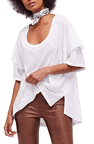 Beautiful Clothing People (Free People Womens Abracadabra Sheer Ruffled T-Shirt White S)