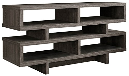"41PUBMy8puL - Monarch Specialties I 2462, TV Console, Dark Taupe Reclaimed-Look, 48""L"