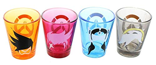 Overwatch Character Shot Glass 4-Pack, Color: Tracer, D.Va, Mercy, and Symmetra