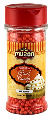 Muzon Orange Pearls Edible Cake Decorations - Sugar Candy Sprinkles - Topping for Icing, Birthday Cupcakes, Sweet Treats & Cookies Orange Pearls Dragees Decoration Balls Candy, Pumpkin Halloween