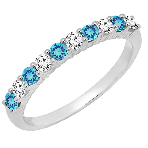 Dazzlingrock Collection 14K Round Blue Topaz & White Diamond Ladies Stackable Wedding Band, White Gold, Size 6