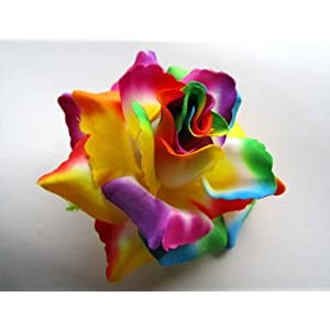 "(4) BIG Rainbow Silk Roses Flower Head - 3.75"" - Artificial Flowers Heads Fabric Floral Supplies Wholesale Lot for Wedding Flowers Accessories Make Bridal Hair Clips Headbands Dress 47"
