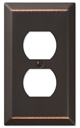 - Amerelle Century Single Duplex Steel Wallplate in Aged Bronze
