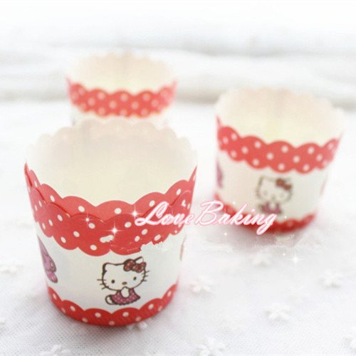 Cartoon Hello Kitty Cupcake Wrapper Cupcake Liners Muffin Paper Cases High Temperature Baking Greaseproof Paper Cake Mold