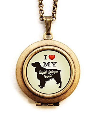Dearest Mine Women's Brass Plated Dog Breed Silhouette Petite Locket Necklace 18 inches (English Springer -