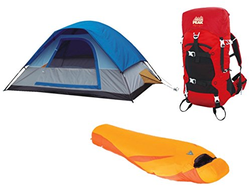 High Peak USA Alpinizmo 5 Men Tent 20F Sleeping Bag & 40 Liter Hiking Pack Tent, Red/Blue/Orange, One (High Peak Camping Tents)