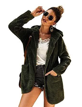 Ayans Women Fleece Loose Warm Winter Two Side Pockets Coat Jacket Outwear Dark Green S