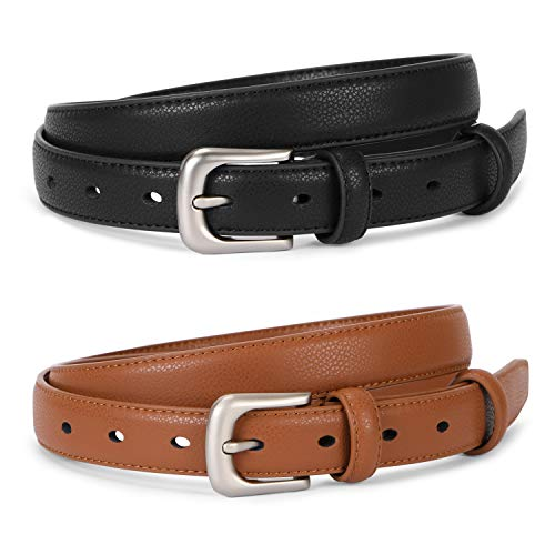 Ladies Skinny Thin Leather Belts For Women Jeans With Silver Pin Alloy Buckle Fashion Waist Belt For Dress Pants Formal Casual