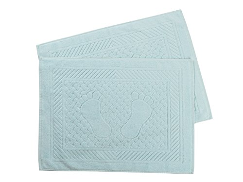 oor Mats - Washable Bathtub Shower Sink Floor Towels - 100% Turkish Cotton Bath Mat Foot Towels - Water Green (Set of 2) ()