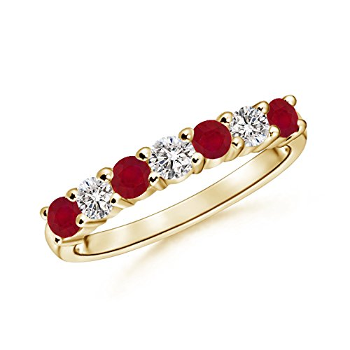 Stone Ruby and Diamond Wedding Band in 14K Yellow Gold (3mm Ruby) (Ruby Diamond Wedding Band)