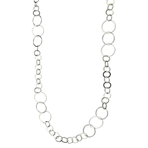 Circle Chain Necklace - Sterling Silver Flat, Round Circle Links Long Necklace Italy, 24
