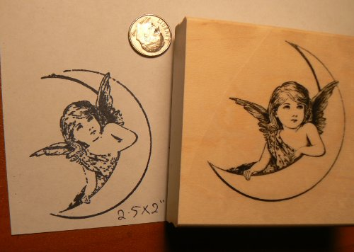 Angel on moon vintage styled rubber stamp P51 ()