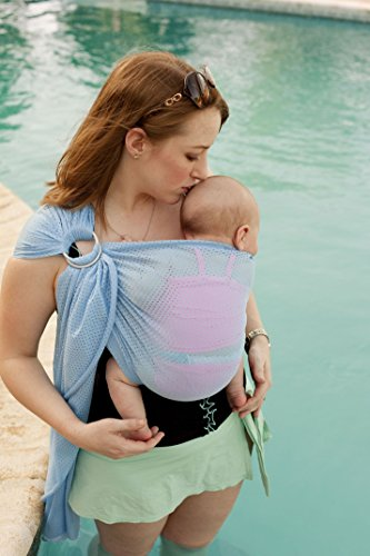 Beachfront Baby Sling – Versatile Water & Warm Weather Adjustable Ring Sling Carrier | Made in USA | Safety Tested Fabric & Aluminum Rings | Lightweight, Quick Dry & Breathable (One Size, Carib Blue)