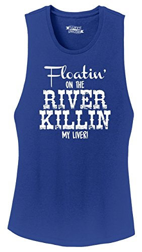 Ladies Festival Tank Top Floating On The River Killing My Liver Deep Royal 2XL