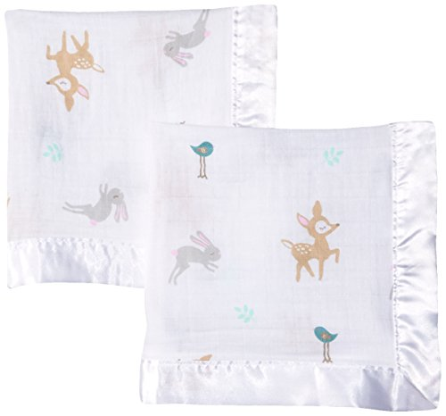 lulujo Baby 2 Piece Cotton Muslin Security Blankets, Little Fawn