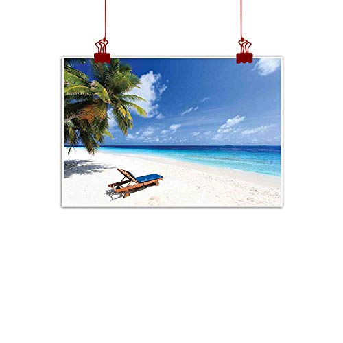 Simple Life Minimalist Seaside,Tropical Beach Chair Sand Palm Trees Sunny Summer Exotic Travel Theme,Blue Green and Ivory 24