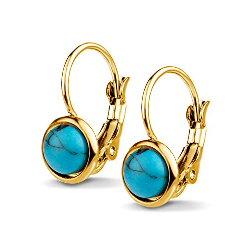 555Jewelry Womens Stainless Steel Stone Marble Round Circle Vintage Genuine Delicate Cut Classic Leverback Findings Finish Fashion Accessories Jewelry Earring, Yellow Gold & Turquoise