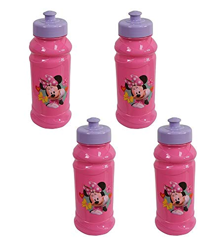 Disney 4-Pack Minnie Mouse Bowtique 16oz Pull-Top Squirt Water Bottles, Purple/Pink, -