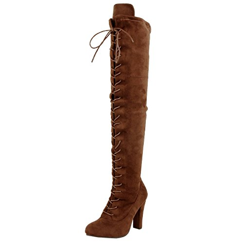 Guilty Shoes Womens Sexy Pull up Stiletto Slouchy High Heel - Over The Knee Thigh High Boots